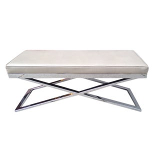 Chrome and Shagreen Embossed Leather Ottoman or Bench