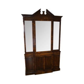 Hekman Chippendale Style Yew Wood Breakfront China Cabinet