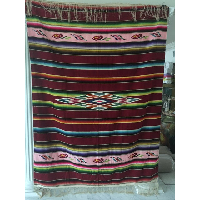 Vintage Mexican Serape Blanket - Image 6 of 6