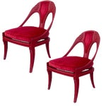 Hollywood Regency Spoon Back Chairs - A Pair