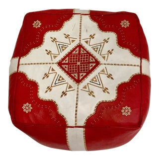 Vintage Red Moroccan Leather Hassock