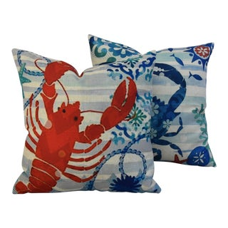 """17"""" Square Nautical Beach Crab & Lobster Linen Pillow Covers - Pair"""