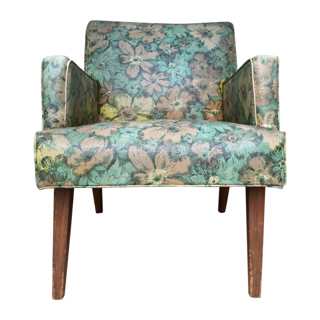 Mid-Century Floral Vinyl & Walnut Lounge Chair - Image 1 of 9