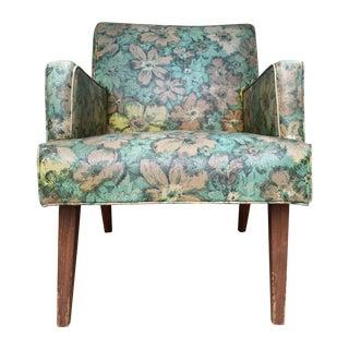 Mid-Century Floral Vinyl & Walnut Lounge Chair