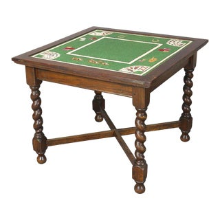 Mid-20th Century Needlepoint Card Table
