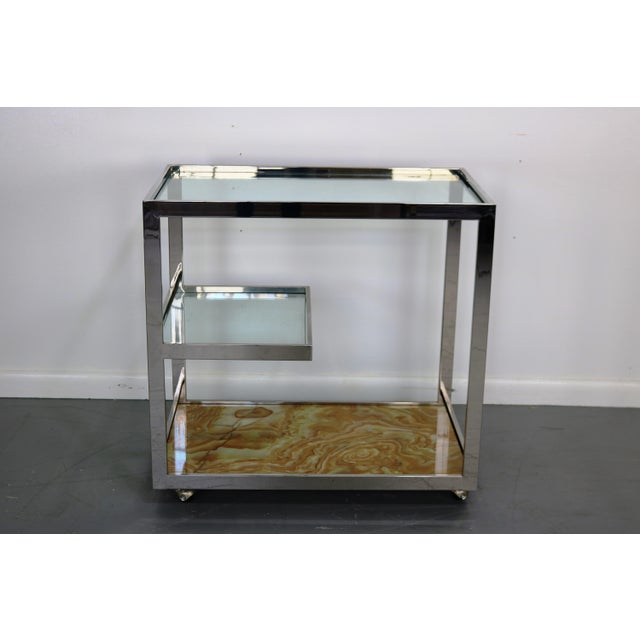 Image of Mid-Century Chrome Glass & Onyx Bar Cart