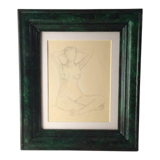 Nude Pencil Study in Faux Malachite Frame