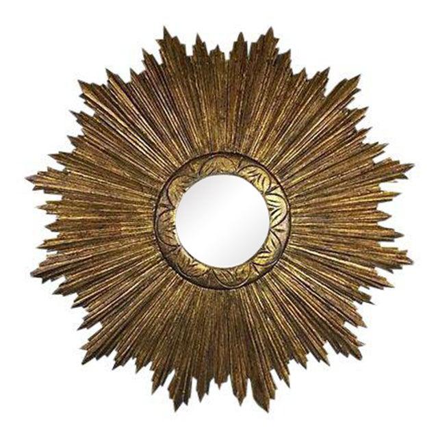 French Wood Sunburst Mirror - Image 1 of 4