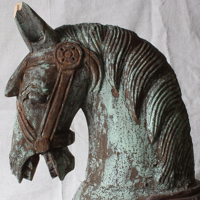 Image of Antique Rajasthani Hand Carved Parade Horse