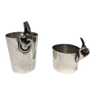 Vintage Napier Silverplate Shot Glasses - A Pair