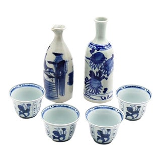 Japanese Meiji Period Blue and White Porcelain Sake Bottles and Cups - Set of 6