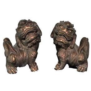 Bronze Resin Foo Dog Statutes - A Pair