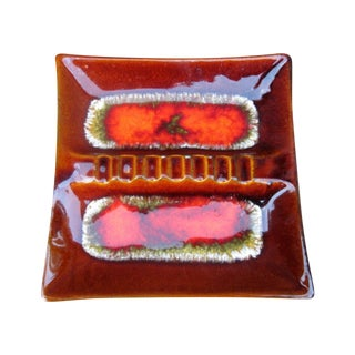 Vintage 1960s Drip Glaze Brown & Orange Ashtray