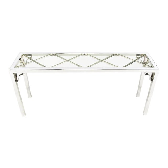 Image of Chrome and Glass Chinese Chippendale Console Table
