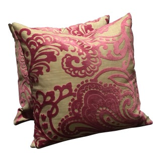 "Custom 14"" Pink Velvet Paisley Pillows - a Pair"
