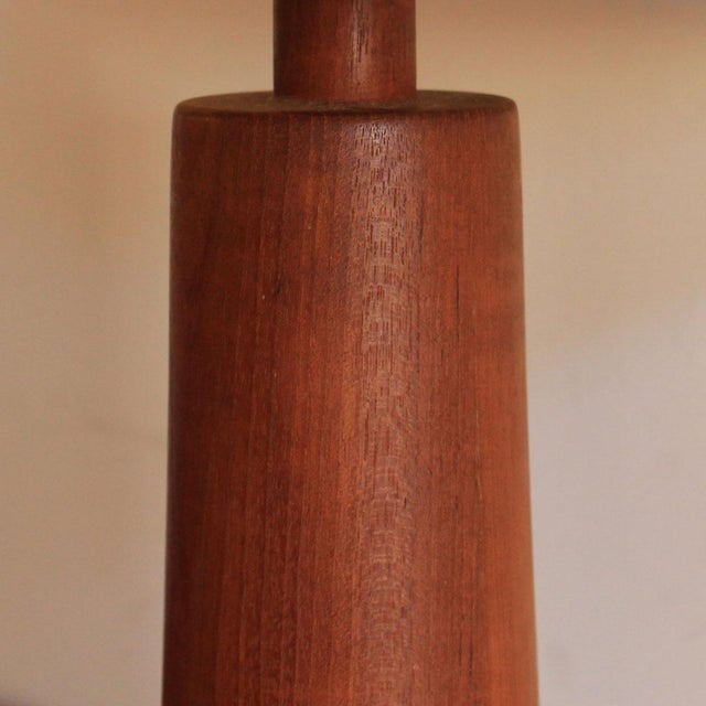 Image of Compact Turned Teak Table Lamps - Pair