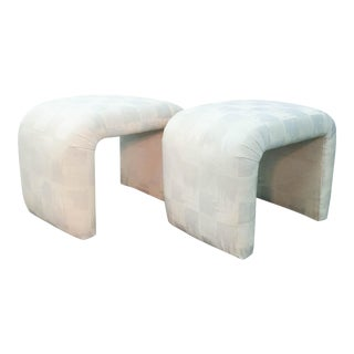 Milo Baughman, Karl Springer Style Waterfall Upholstered Benches - a Pair
