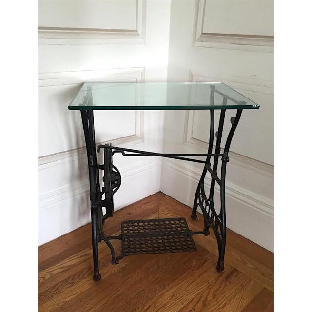 Vintage sewing machine cast iron base side table chairish - Cast iron sewing machine table ...