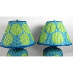 Image of Blue Bamboo Lamps With Green Deco Dots - A Pair