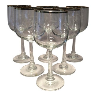 "Vintage Fostoria Etched ""F Monogram"" Gold Rim Crystal Cocktail Glasses - Set of 6"