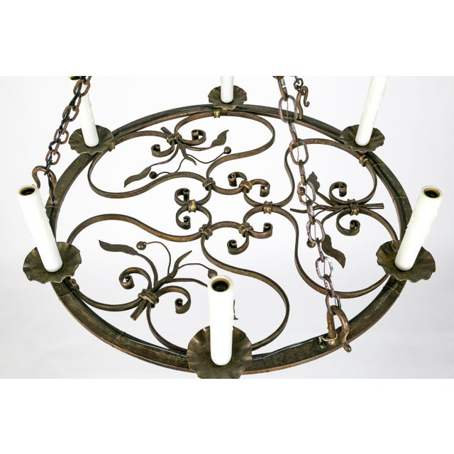 Hand Wrought Flat Leaf and Scroll Chandelier - Image 4 of 8