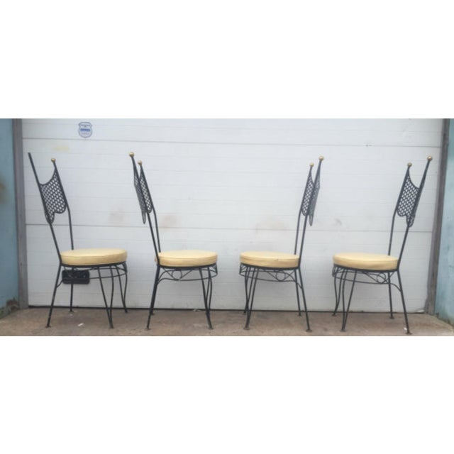 Vintage High Back Metal Chairs - Set of 4 - Image 4 of 6