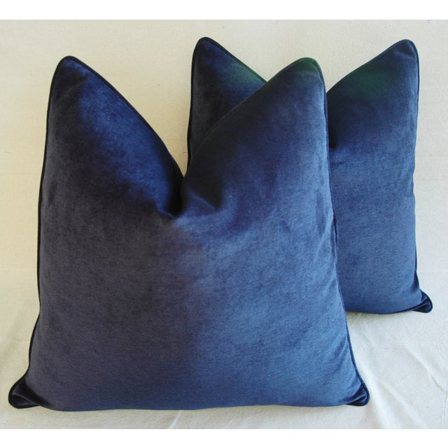 Large Designer Midnight Blue Velvet Feather/Down Pillows - Pair - Image 6 of 10
