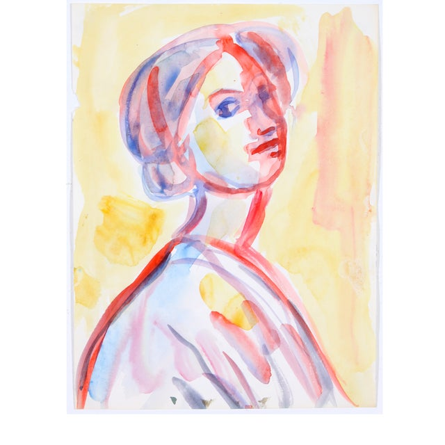 Image of Red & Yellow Watercolor Portrait of Woman