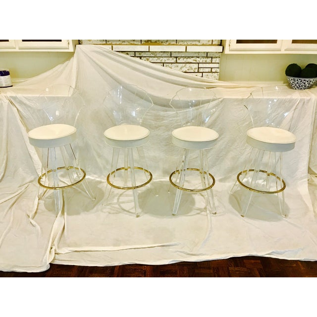 Vintage Lucite Acrylic Fan Back Bar Stools - Set of 4 - Image 2 of 9