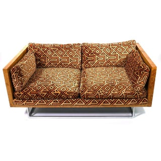 Milo Baughman Burl Wood & Chrome Loveseat