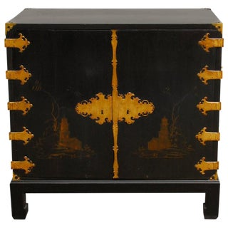 George III Chinoiserie Chinese Lacquer Cabinet on Stand