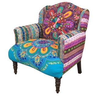 Pottery Barn Embroidered Armchair