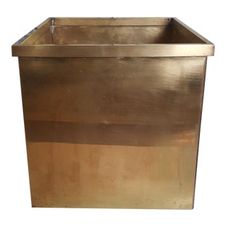 Mid Century Modernist Large Brass Square Planter