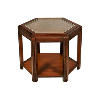 1960s Caned Top Six Sided Table
