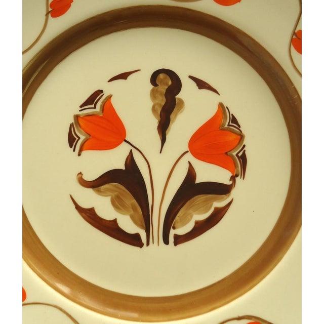 Art Deco Hand Painted Orange Tulip Plate - Image 3 of 6