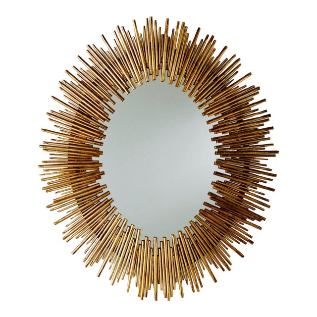 Arteriors Prescott Antiqued Gold Oval Iron Mirror - Image 1 of 4