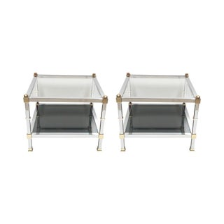 Jansen Chrome Brass and Glass End Tables - Pair
