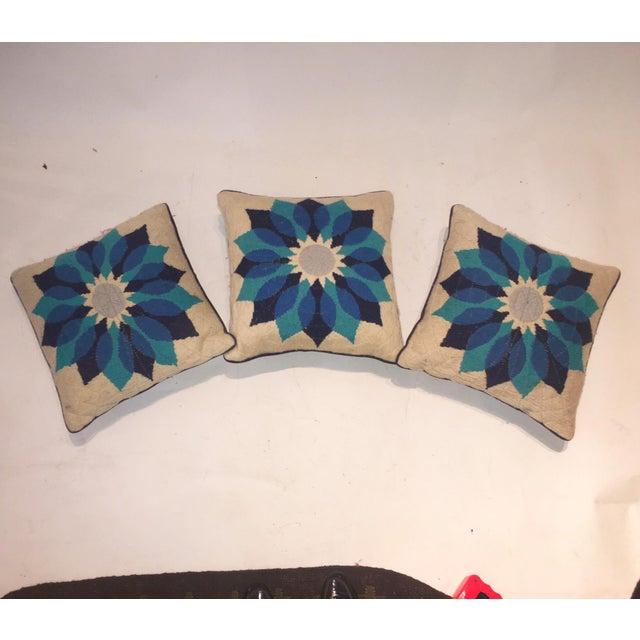 Rare Jonathan Adler Blue Flower Pillows - Set of 3 - Image 4 of 6