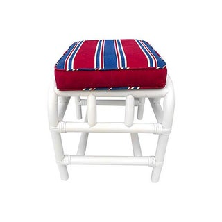 Faux-Bamboo Bench Seat With Nautical Fabric