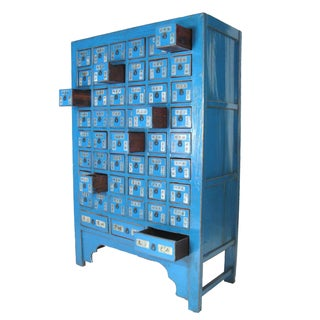 Antique Chinese Blue Lacquered Apothecary Cabinet Display
