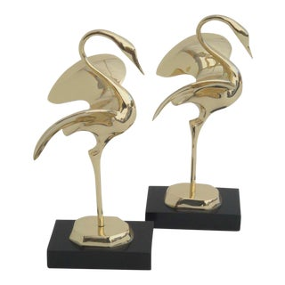 Pair of Decorative Polished Brass Modernist Cranes