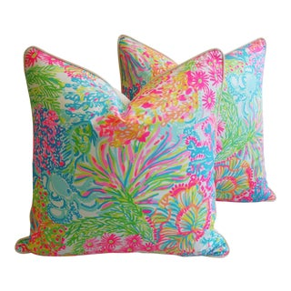 Summer Sale! Lilly Pulitzer-Inspired/Style Beach & Ocean Floral Pillows - Pair