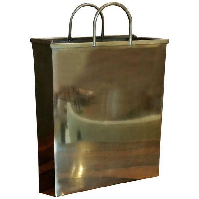 1970s Spain Sarreid, Ltd. Glam Brushed Brass Shopping Bag Umbrella Stand - Image 7 of 7