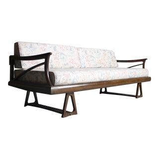 Architectural Mid-Century Modern Walnut Sofa