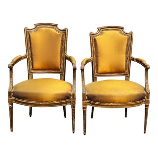 Louis XVI Style Distressed Painted Fauteuils - A Pair