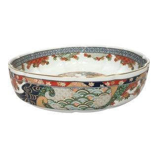 Asian Porcelain Transferware Low Console Bowl