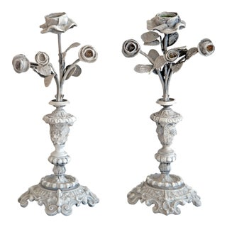 Antique Painted Flower Candlesticks - A Pair
