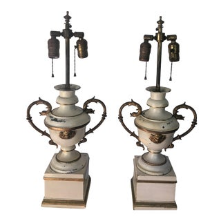 Antique Tole Urn Table Lamps - A Pair
