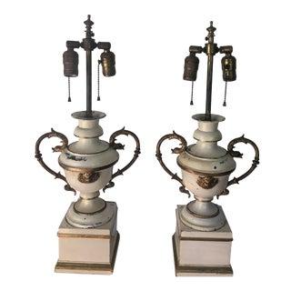 Antique Tole Urn Table Lamps - A Pair