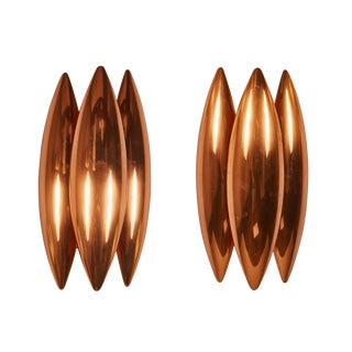 "Pair of Copper ""Kastor"" Sconces by Jo Hammerborg for Fog & Mørup"